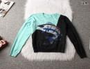 秋冬新款套头针织外套 拼色胶印鱼图案圆领长袖针织衫