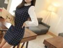 秋季热销新款韩版靓丽女装长袖修身格子拼接纯棉针织连衣裙