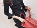 小米依山-韩版修身针织套头荷叶边裙长袖连衣裙打底小香风淑女