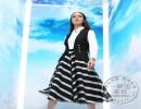卿素 夏季新款欧洲站品牌女装批发 欧美小香风竖条纹针织连衣
