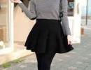 韩版秋装新款大摆荷叶裙修身显瘦针织半身裙韩版女装厂家直销