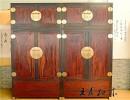老挝大红酸枝顶箱柜 大红酸枝衣柜衣橱价格 王义红木家具