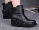 【女鞋靴子】品牌皮靴欧美坡跟马丁靴圆头加厚保暖女靴子黑色女鞋靴子批发