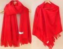 韩版R纯色R仿羊绒披肩围巾定做|年会围巾批发大红围巾