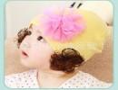 【宝宝套头帽】韩款儿童网纱花朵假发包头帽宝宝套头帽春秋冬帽护耳帽