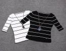 【条纹显瘦】欧洲站2015春夏季新款一字领露肩黑白横条纹显瘦冰丝T恤女