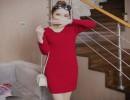 气质波浪V领中长款针织衫包臀针织裙冬装针织裙批发