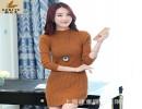 【长袖毛衣女】6850秋冬新款女装立领竖条韩版弹力修身长袖毛衣女包臀打底针织衫