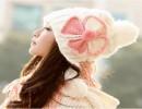 【女士毛线帽】2014秋冬天蝴蝶结球球可爱加厚保暖护耳女士毛线帽四叶花针织帽子