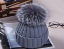 【毛线帽子女士】欧洲款超大狐狸毛球毛线帽子女士韩版潮护耳加厚皮草保暖针织帽