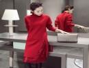女款百搭打底韩版针织连衣裙批发长袖套头蕾丝绣花长袖针织裙批发