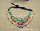 【手工钉珠】原创韩版民族风手工钉珠刺绣项链木珠玻璃珠领花复古可调节项圈女