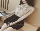 【V领长袖】2015秋装新款蝴蝶结V领长袖修身套头针织打底T恤衫女1851