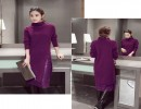 女款百搭打底韩版针织连衣裙批发长袖套头蕾丝领绣花长袖针织裙