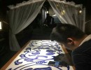 餐厅红木家具镶嵌青花瓷板生产厂家
